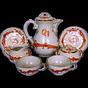 Early 20th Century German Porcelain Coffee Set by Thomas Porzellanfabrik in Saxon Court Red Dragon Pattern