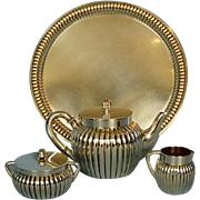Early 20th Century Three-piece German 800 Silver Bachelor's Tea Set and Matching Tray by Koch & Bergfeld