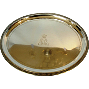 Antique German 800 Silver Crested Presentation Tray with Engraved Names of Pomeranian Aristrocracy by Koch & Bergfeld