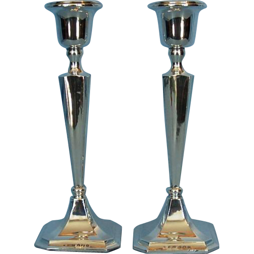 Vintage Pair George V Sterling Silver Candlesticks by H. Williamson Ltd.