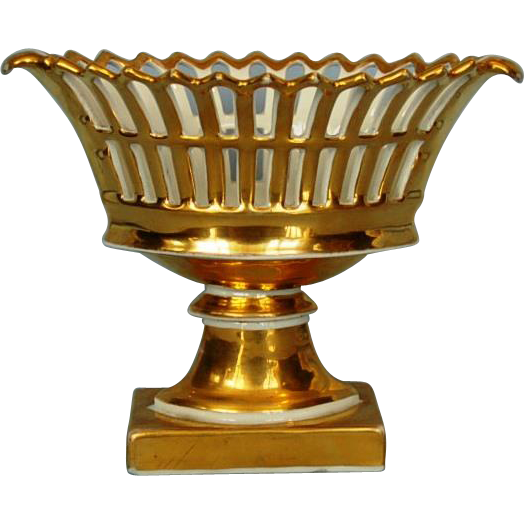 Mid-19th Century Old Paris Porcelain Gilt footed Open Work Navette Form Basket
