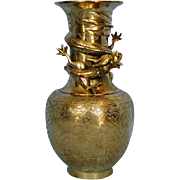 Turn-of-the-Century Chinese Brass Vase with Applied Dragon