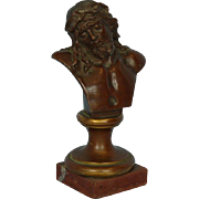 19th Century Bronze bust of Christ on Marble Base