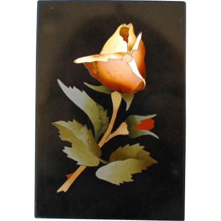 19th Century Italian Pietra Dura Plaque of Yellow Rose and Single Bud