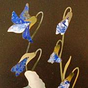 Vintage Italian Pietra Dura Floral Plaque with Lapis Lazuli Inlay