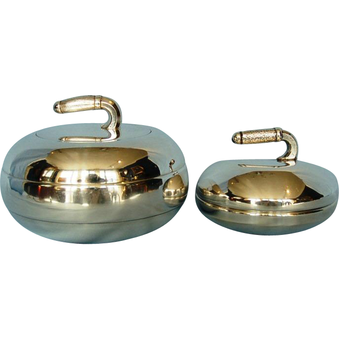 Two Vintage English Silverplate Curling Stones Bowl and Butter Dish