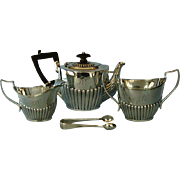 19th Century Four Piece English Sterling Silver Queen Anne Style Bachelor Tea Set