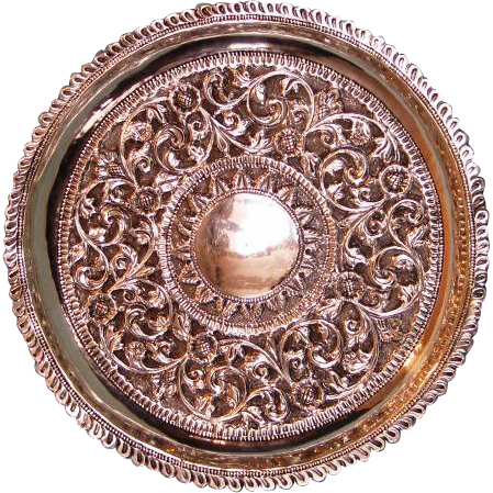 19th Century Indian Kutch or Cutch Pure Silver Tray