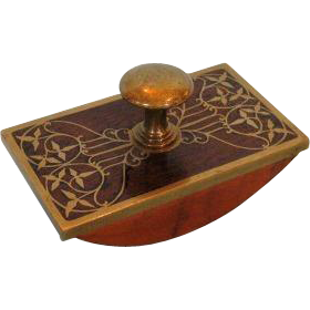 German Art Nouveau Rosewood and Inlaid Brass Desk Blotter
