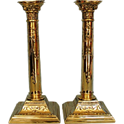 Mid-century Pair English Neo-classical Silverplate Candlesticks with Corinthian Capitals by Oliver and Bower Ltd, Sheffield