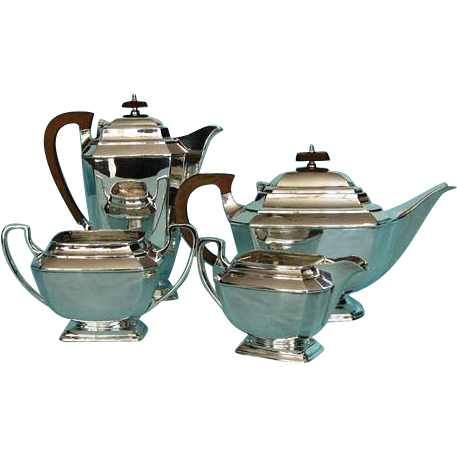 Mid-century Vintage Four-piece Art Deco Silver Plate Tea and Coffee Service by Frank Cobb, Sheffield