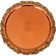 19th Century Crested Copper Waiter with Grape and Vine Mounts by Waterhouse Hatfield & Co, Sheffield