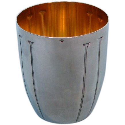 Antique French First Standard Silver Art Deco Beaker with Gilt Interior by Denis Gérard, Paris