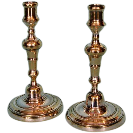 19th Century Pair French Silvered Brass Candlesticks