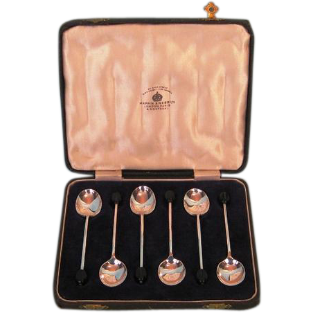 Early 20th Century English Sterling Silver Coffee Spoons by Mappin and Webb