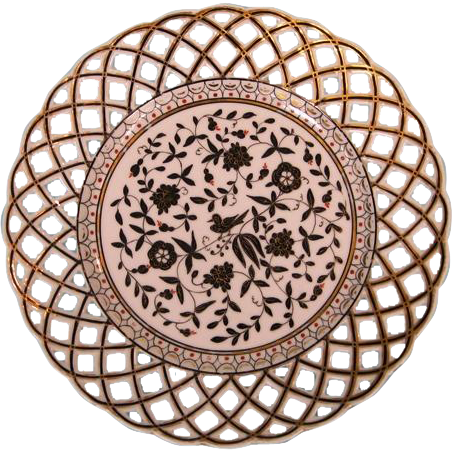 19th Century Italian Hand-painted and Pierced Porcelain Dessert Plate by J. Richard Co, Milan
