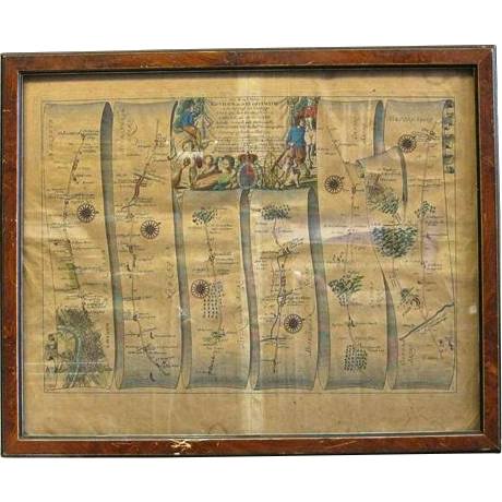 17th Century English Framed Map From John Ogilby's Britannia