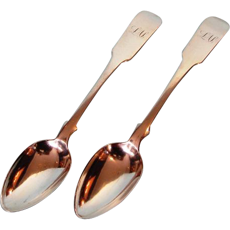 19th Century Pair Sterling Silver Teaspoons by George Savage, Montreal