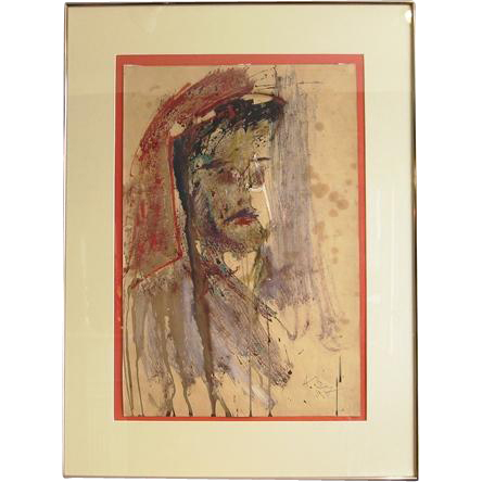 Mid-Century Moscow School Portrait of Gentleman Oil and Mixed Media on Paper by Anatoly Zverev
