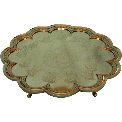 Antique School of Arts Jeypore Brass Lobed Salver on Six Whorled Legs