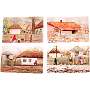 Four Original Signed Watercolours of Pre-revolution Russian Village Life by Grand Duchess Olga Alexandrovna