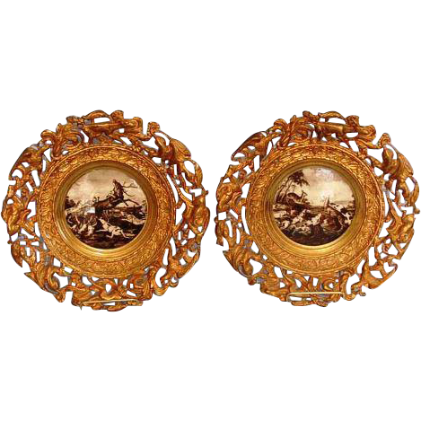 Turn of the Century Pair of English Hunting Scenes in Finely Cast Brass Frames.