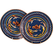 Pair Late 19th Century English Torquay Glazed Earthenware Plates by Watcombe Pottery Co