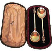 Pair Antique English Gilt Sterling Silver Seal-top Serving Spoons by George Jackson and David Fullerton