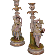Pair Antique German Glazed and Bisque Figural Candlesticks