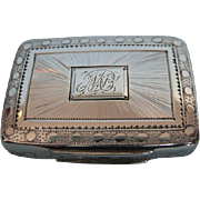 Early 19th Century English Sterling Silver Vinaigrette with Gilt Interior by Joseph Willmor