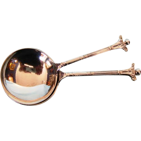 Pair Mid-Century English Sterling Silver Tea Caddy Spoons