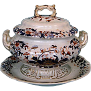 19th Century Imari and Gilt English Tureen-on-Stand by Copeland and Garrett