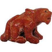 Asian Red Stone Tiger Carving