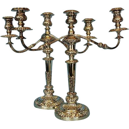 Early 19th Century Pair of Old Sheffield Plate Three-light Candelabra by Mathew Boulton, Birmingham
