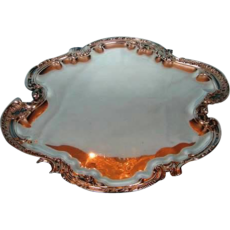 Antique French Rococo-Style .950 Silver Tray