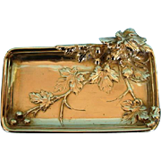 Antique French Art Nouveau Bronze Doré Card Tray by Albert Marionnet