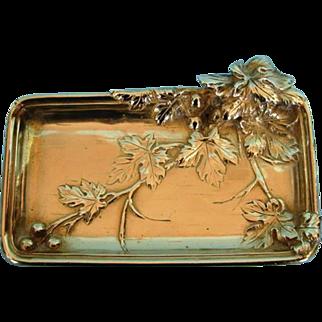Antique French Art Nouveau Bronze Doré Card Tray by Albert Marionnet