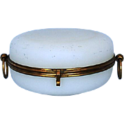 19th Century French White Opaline Dresser Box with Gilt Brass Mounts