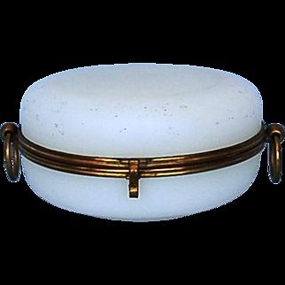 19th Century French White Opaline Dresser Box with Gilt Brass Mounts