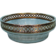 Antique French .950 Fine Silver Gilt Mounted Cut Crystal Bowl by La Societe Parisiene d'Orfevrerie