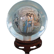 Vintage Chinese Crystal Sphere with Reverse Painted Interior of Female Figures on Pierced Wooden Stand