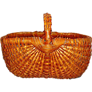 19th Century American Buttocks basket with Hickory Splint Construction