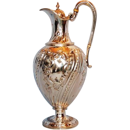 19th Century English Sterling Silver Claret or Hot Water Ewer by Martin & Hall