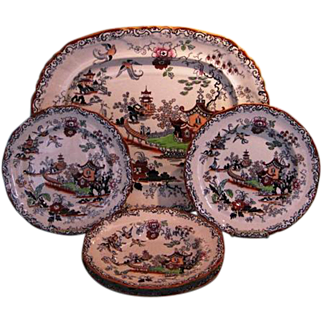 Turn-of-the Century English 5-piece Ironstone Set in Willow Pattern by Ashworth Brothers