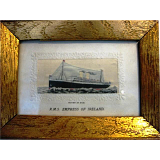 Early 20th Century Rare Glazed and Framed Woven Silk Stevengraph of RMS Empress of Ireland Postcard