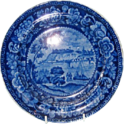 Early 19th Century English Blue Transfer Plate in Quebéc Pattern by James and Ralph Clews, Staffordshire