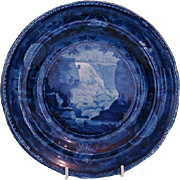 19th Century Blue and White Transfer Plate Featuring the Falls of Montmorenci by Enoch Wood & Sons, Staffordshire