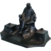 Antique German Art Nouveau Patinated Spelter Inkstand by J. Kaiser und Söhne