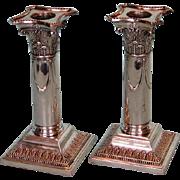 Antique Pair English Silverplate Corinthian Column Candlesticks by Hawksworth Eyre