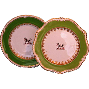 Two Early 19th Century English Chamberlain Worcester Crested Dessert Plates